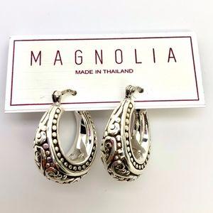 MAGNOLIA 925 STERLING SILVER HOOPS EARRINGS